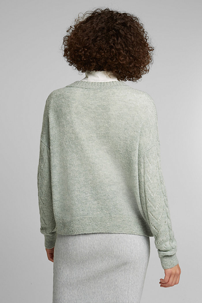 With wool and alpaca: jumper with an openwork pattern, DUSTY GREEN, detail image number 3