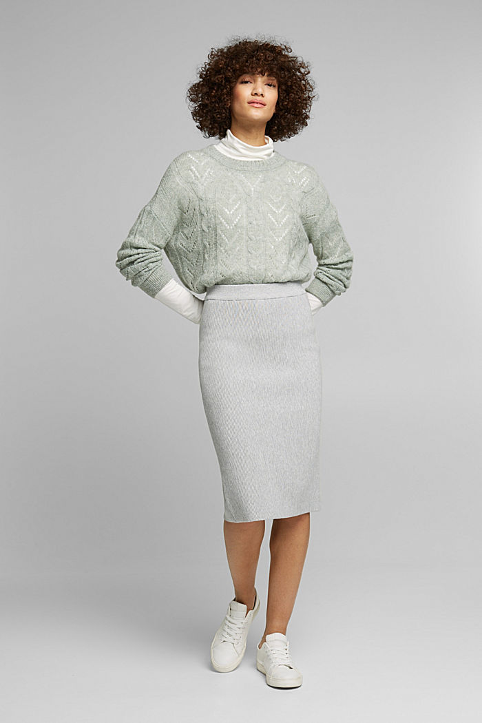 With wool and alpaca: jumper with an openwork pattern, DUSTY GREEN, detail image number 6