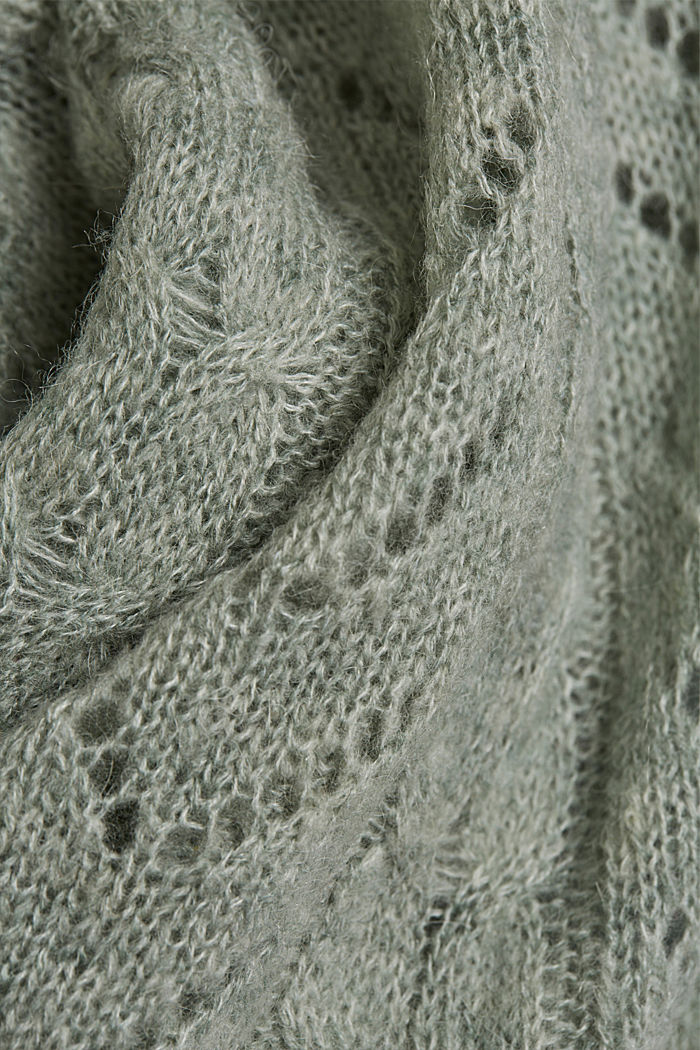 With wool and alpaca: jumper with an openwork pattern, DUSTY GREEN, detail image number 4