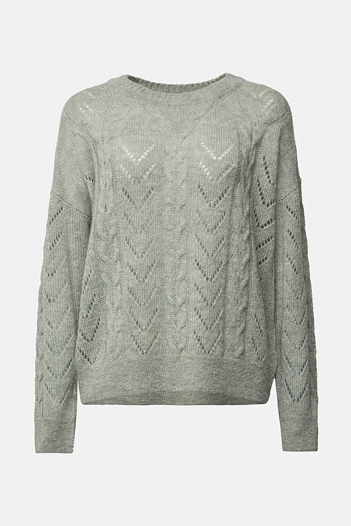 With wool and alpaca: jumper with an openwork pattern, DUSTY GREEN, detail image number 7