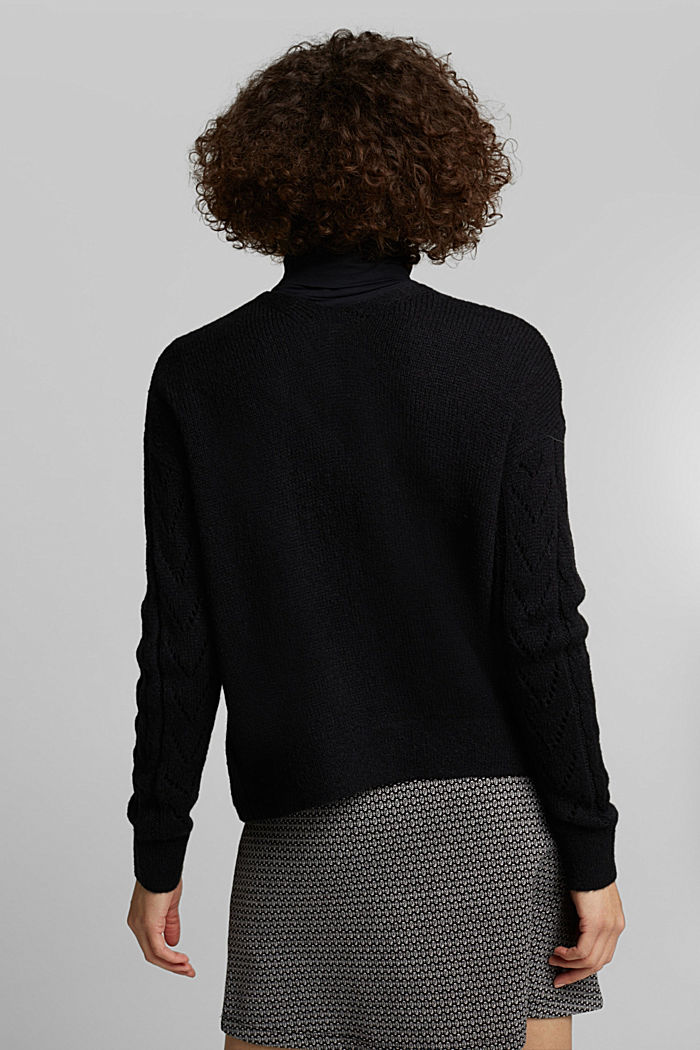 With wool and alpaca: openwork cardigan, BLACK, detail image number 3