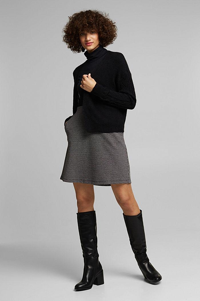 With wool and alpaca: openwork cardigan, BLACK, detail image number 1