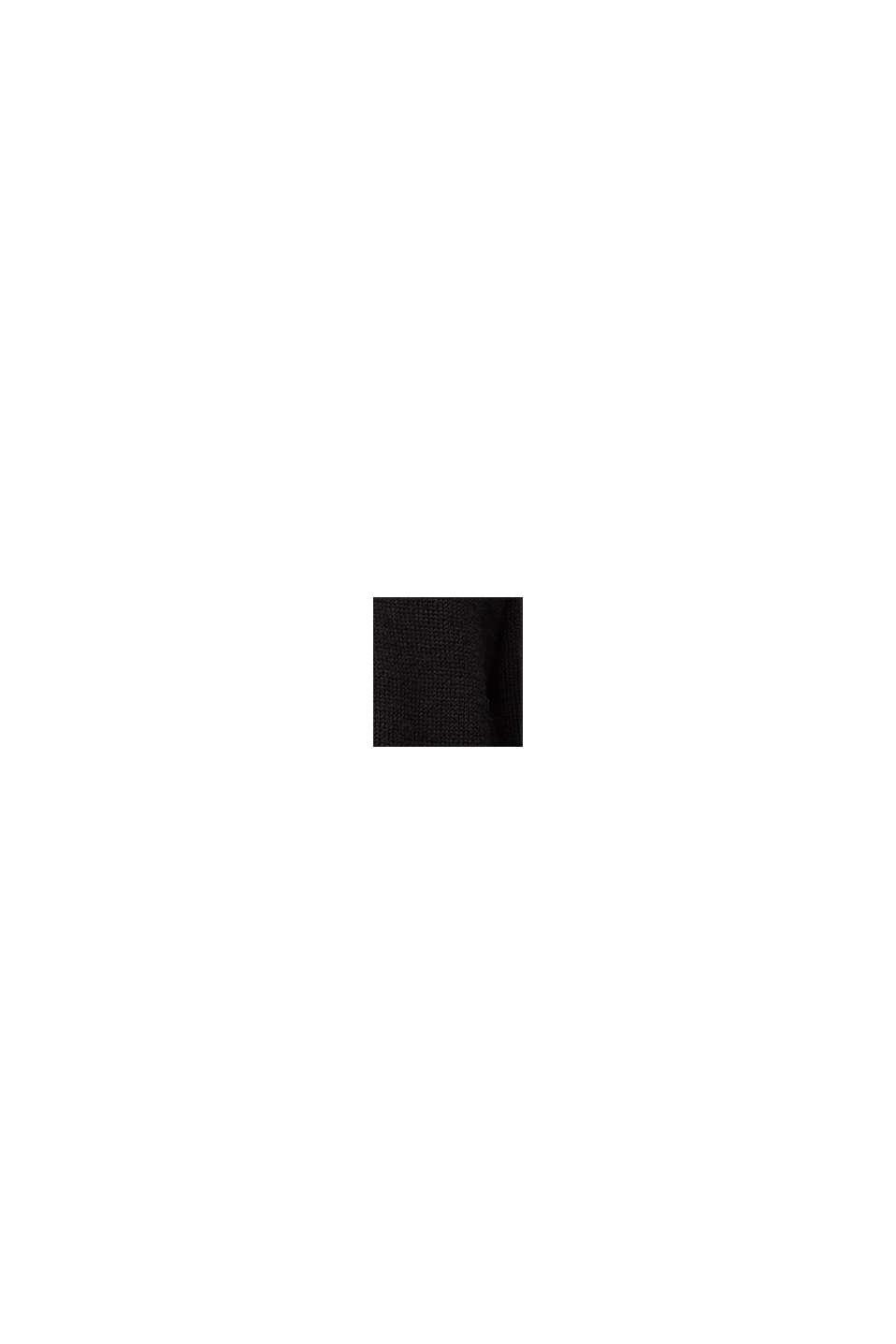 Mit Wolle und Alpaka: Ajour-Cardigan, BLACK, swatch