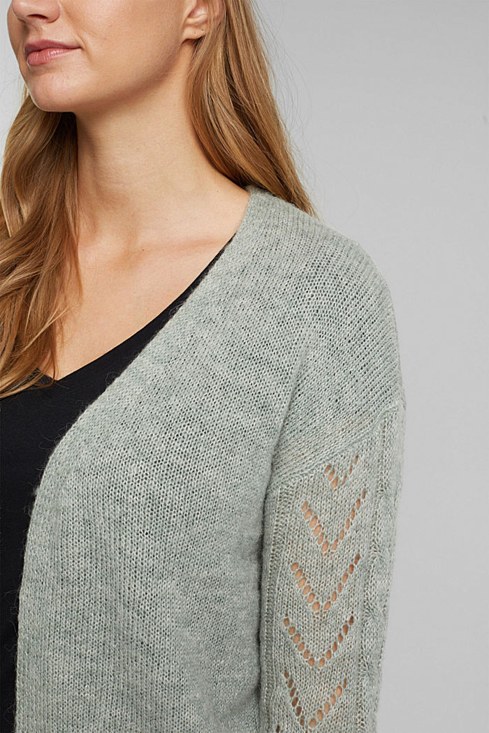 With wool and alpaca: openwork cardigan, DUSTY GREEN, detail image number 2