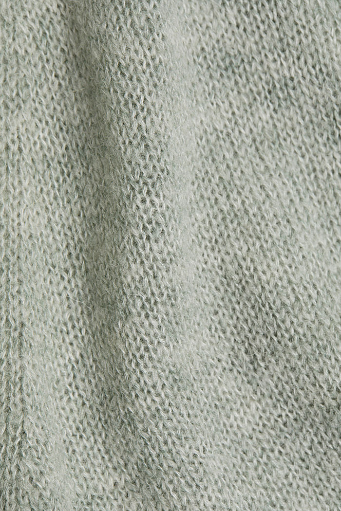 With wool and alpaca: openwork cardigan, DUSTY GREEN, detail image number 4