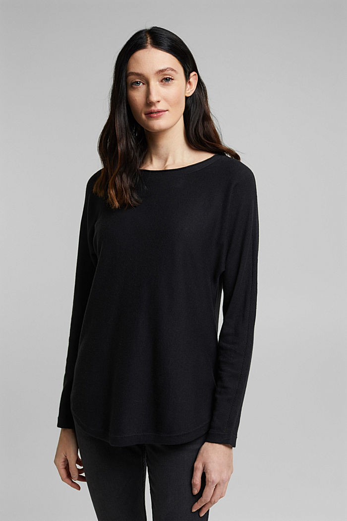 Jumper with organic cotton and linen, BLACK, detail image number 0