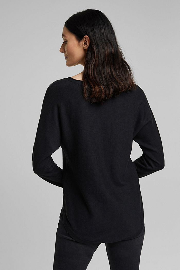 Jumper with organic cotton and linen, BLACK, detail image number 3