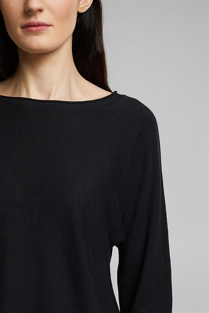 Jumper with organic cotton and linen, BLACK, detail image number 2