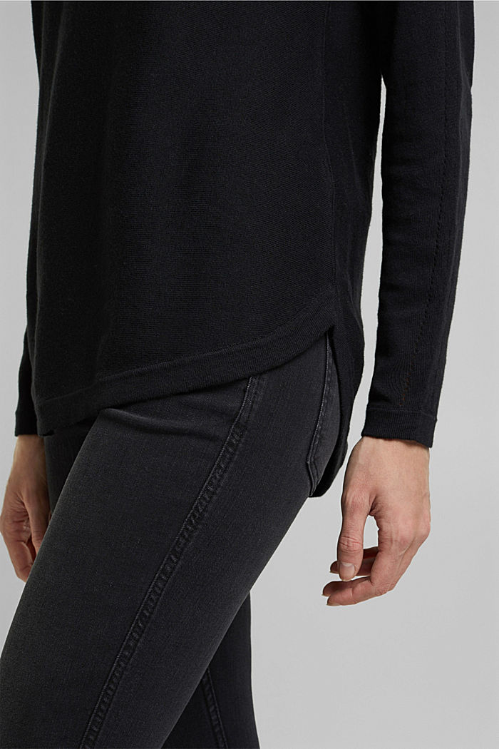 Jumper with organic cotton and linen, BLACK, detail image number 6