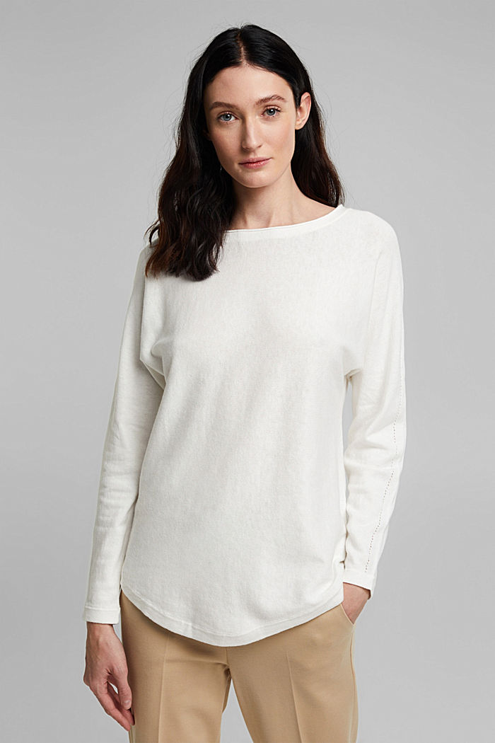 Jumper with organic cotton and linen, OFF WHITE, detail image number 0