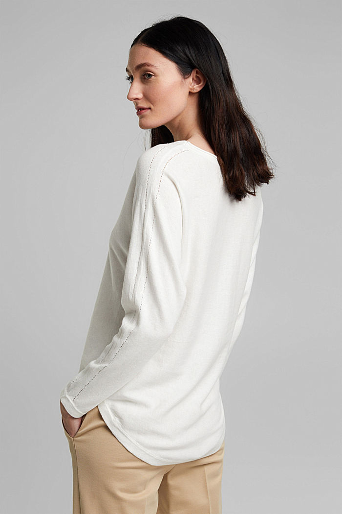 Jumper with organic cotton and linen, OFF WHITE, detail image number 3