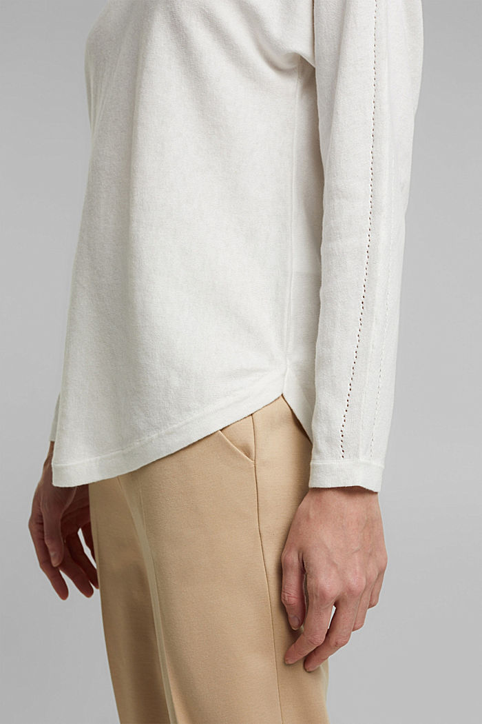 Jumper with organic cotton and linen, OFF WHITE, detail image number 5