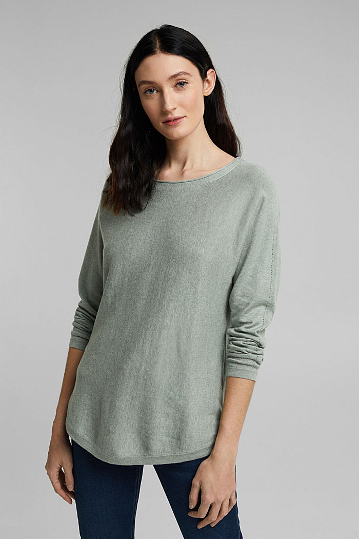 Jumper with organic cotton and linen, DUSTY GREEN, detail image number 0