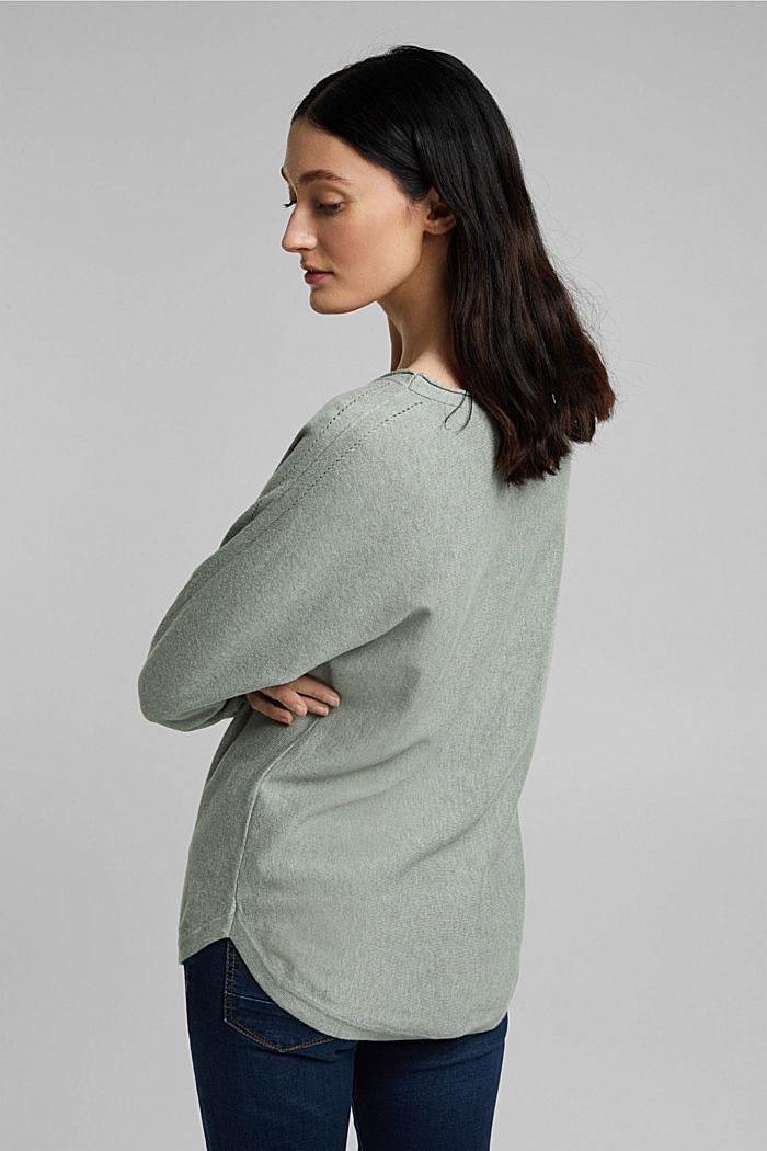 Jumper with organic cotton and linen, DUSTY GREEN, detail image number 3