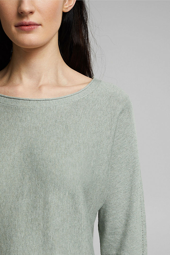 Jumper with organic cotton and linen, DUSTY GREEN, detail image number 2
