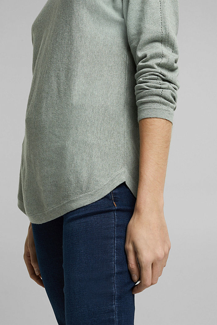 Jumper with organic cotton and linen, DUSTY GREEN, detail image number 5