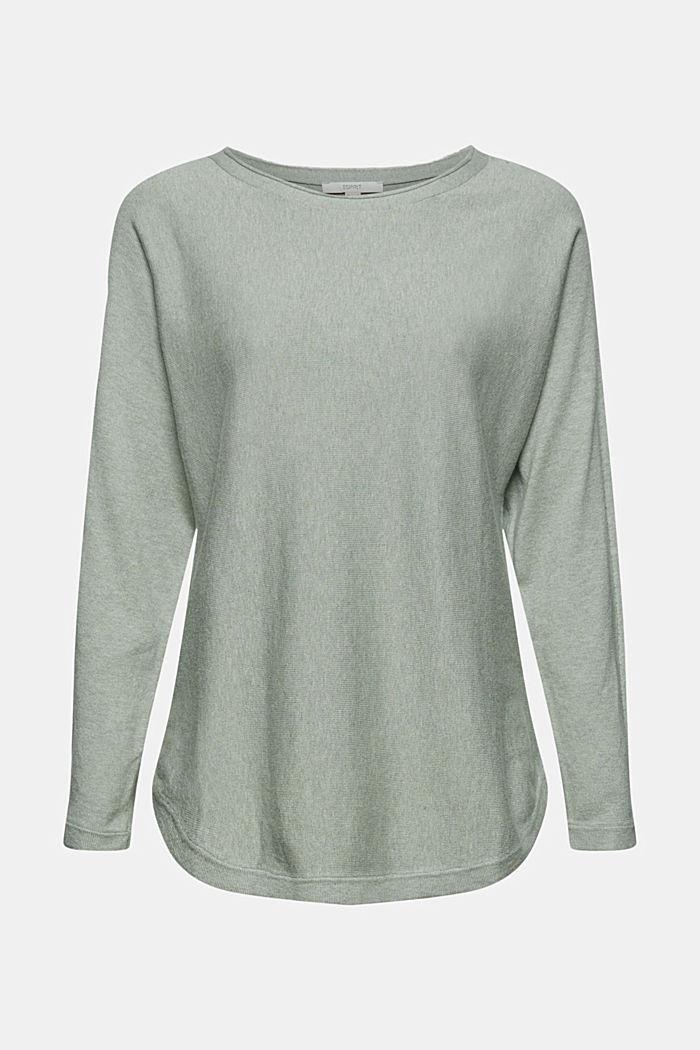 Jumper with organic cotton and linen, DUSTY GREEN, detail image number 7