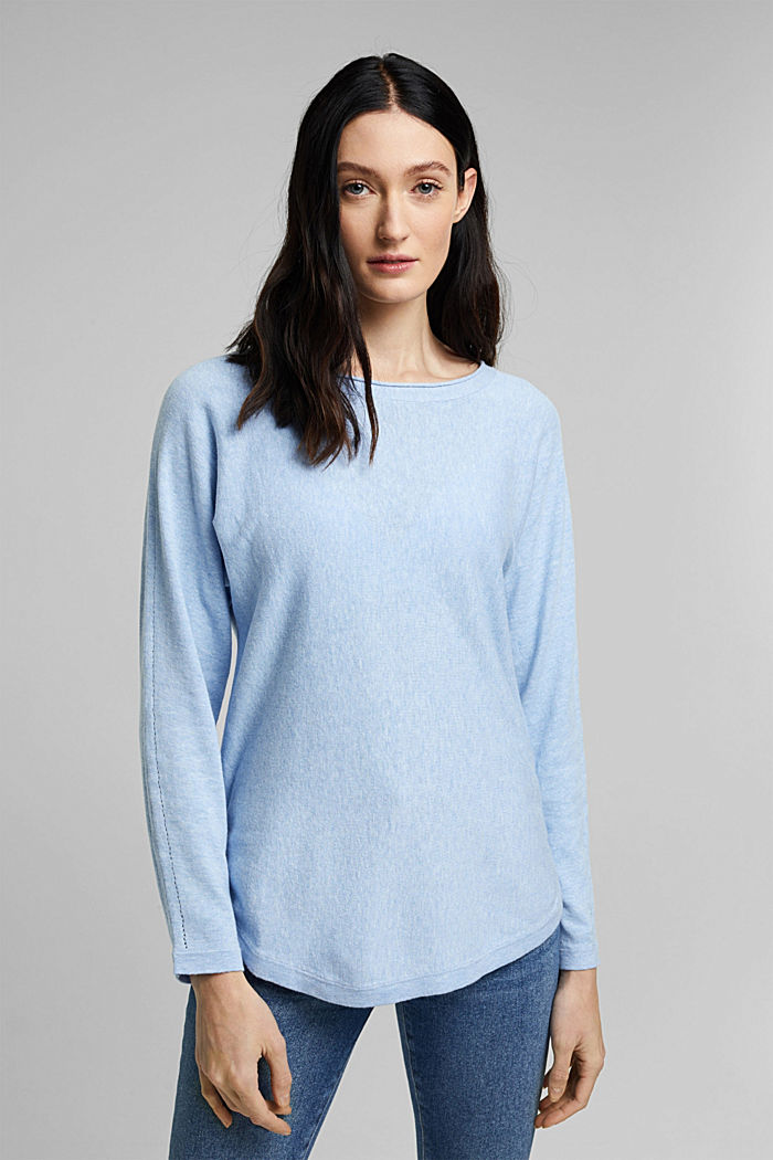 Jumper with organic cotton and linen, PASTEL BLUE, detail image number 0