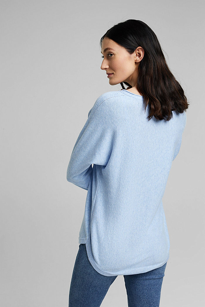 Jumper with organic cotton and linen, PASTEL BLUE, detail image number 3