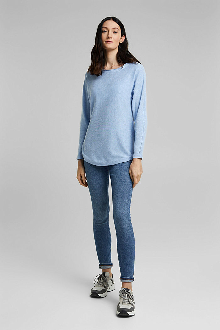 Jumper with organic cotton and linen, PASTEL BLUE, detail image number 6