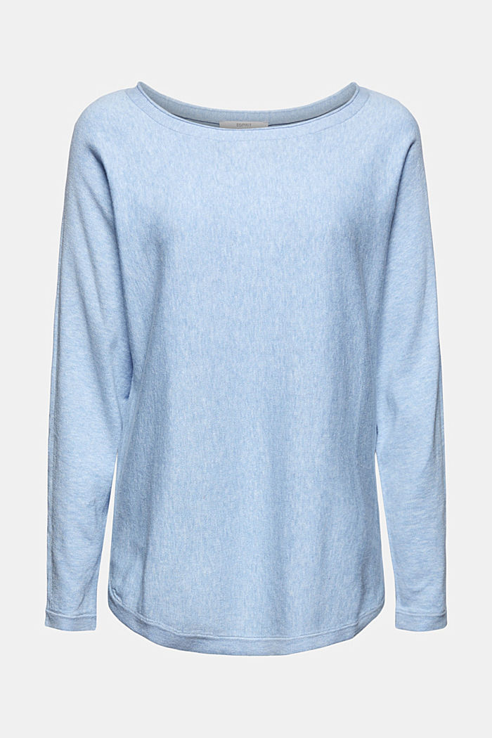 Jumper with organic cotton and linen, PASTEL BLUE, detail image number 7