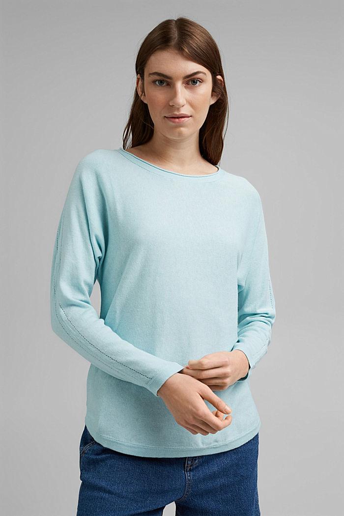 Pullover mit Organic Cotton und Leinen, LIGHT TURQUOISE, detail image number 0