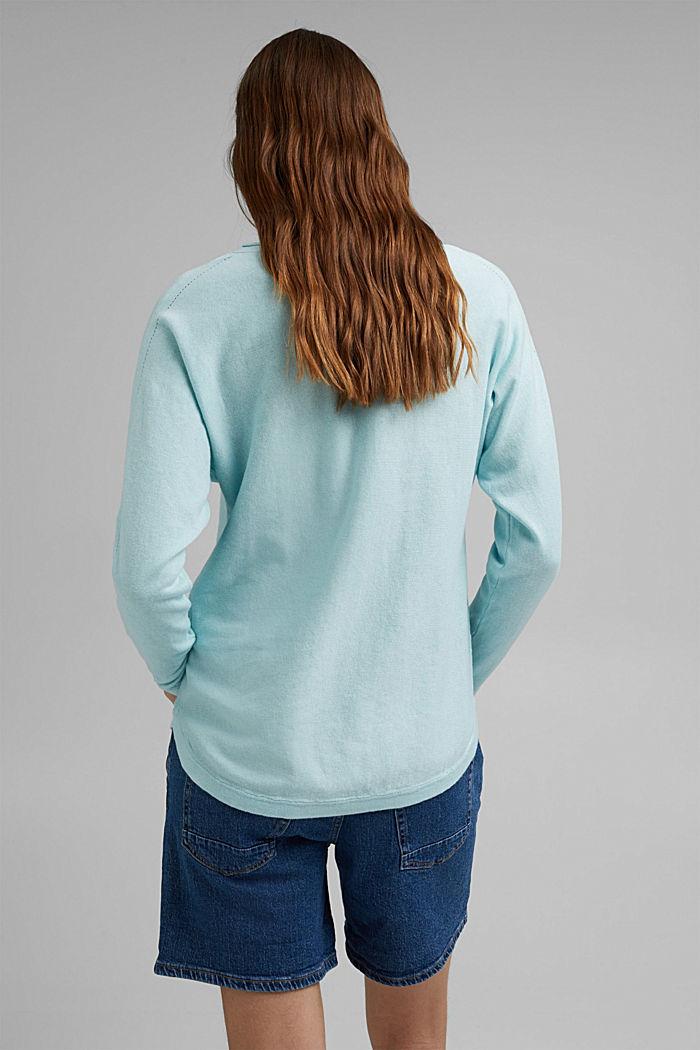 Pullover mit Organic Cotton und Leinen, LIGHT TURQUOISE, detail image number 3