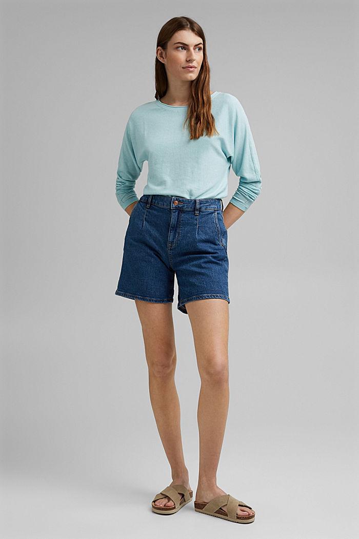 Pullover mit Organic Cotton und Leinen, LIGHT TURQUOISE, detail image number 1