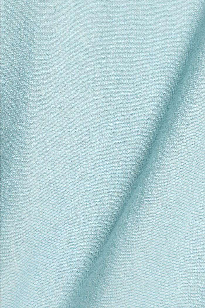 Pullover mit Organic Cotton und Leinen, LIGHT TURQUOISE, detail image number 4