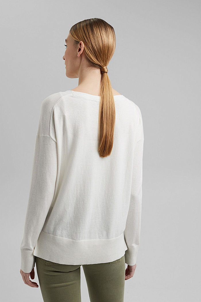 Met linnen: basic trui met biologisch katoen, OFF WHITE, detail image number 3