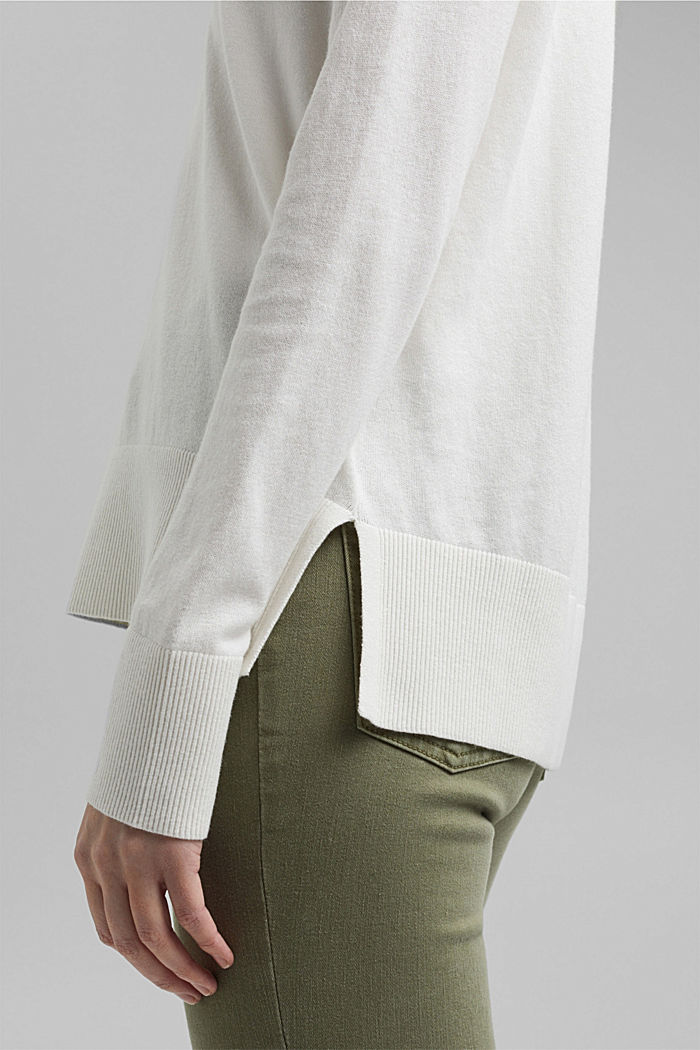 Met linnen: basic trui met biologisch katoen, OFF WHITE, detail image number 2
