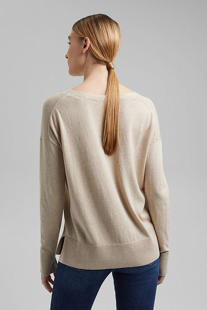 Basic jumper with linen and organic cotton, SAND, detail image number 3