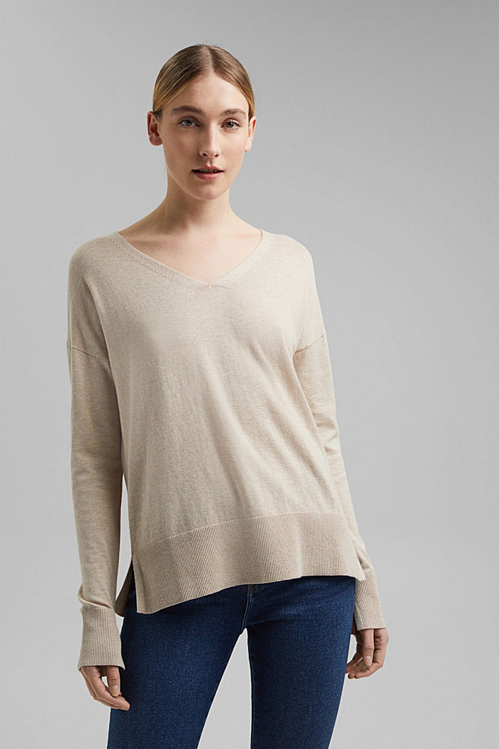 Basic jumper with linen and organic cotton, SAND, detail image number 6