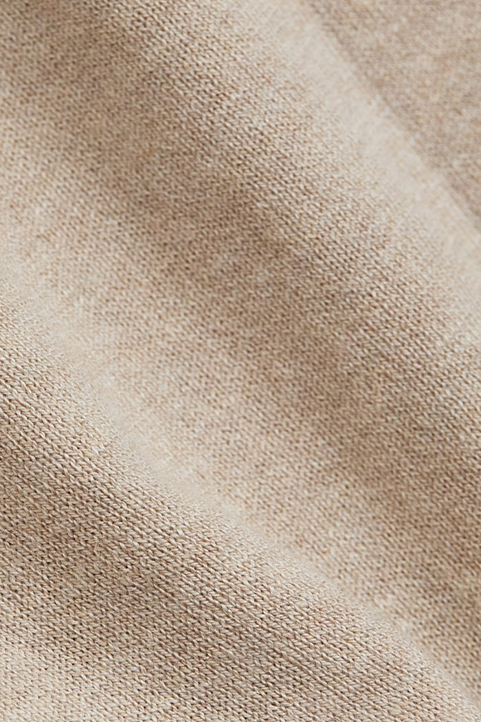 Basic jumper with linen and organic cotton, SAND, detail image number 4