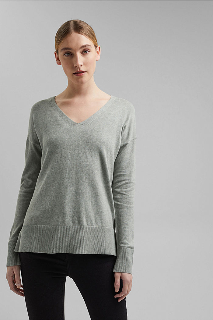 Basic jumper with linen and organic cotton, DUSTY GREEN, detail image number 0