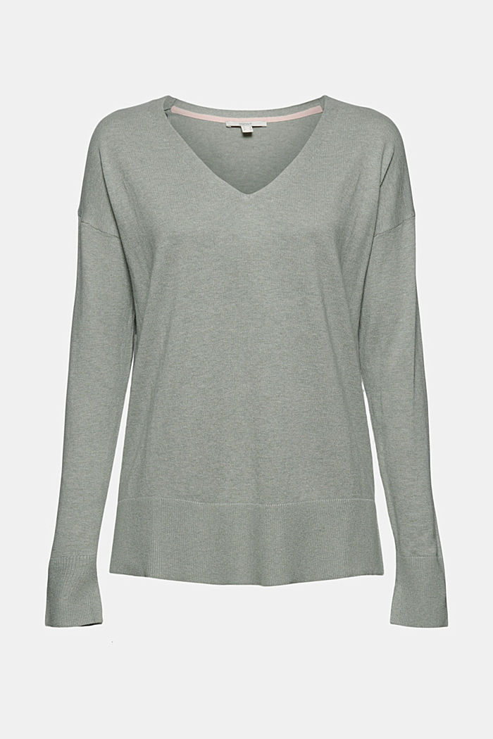Basic jumper with linen and organic cotton, DUSTY GREEN, detail image number 6
