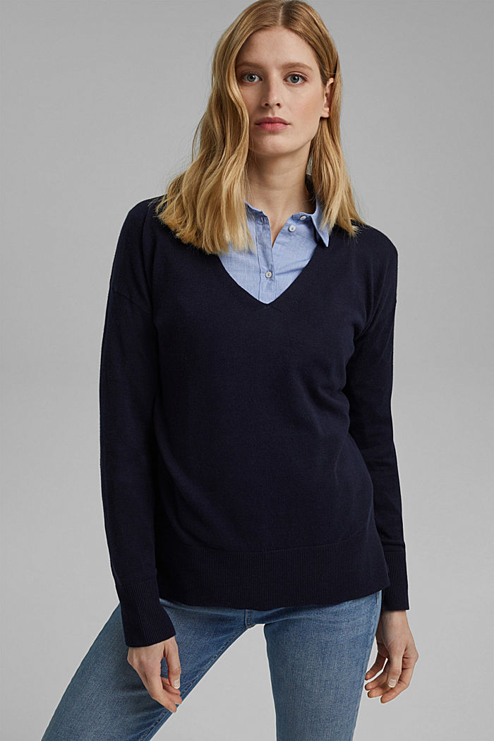 Basic jumper with linen and organic cotton