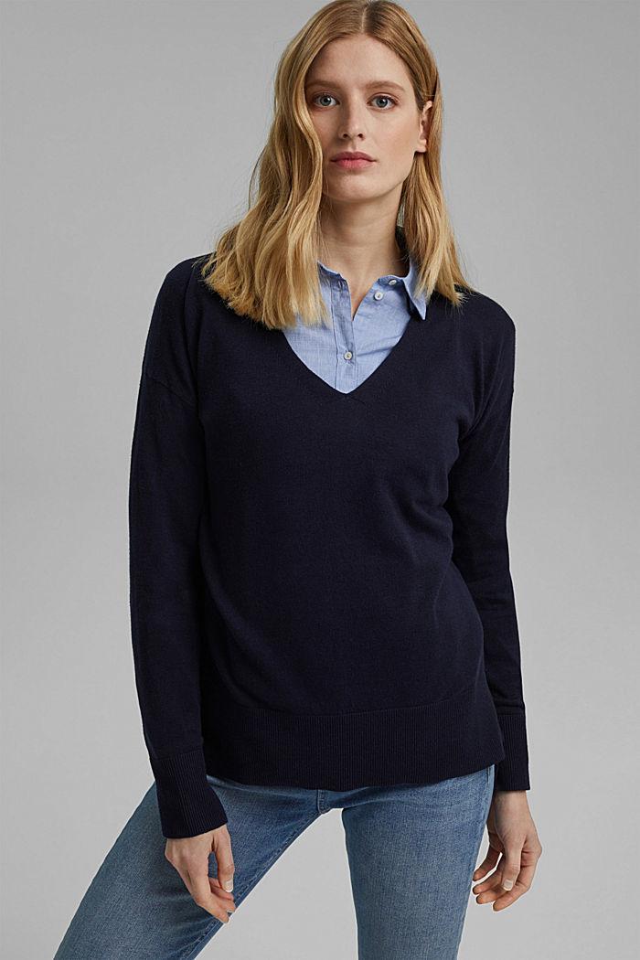 Mit Leinen: Basic Pullover mit Organic Cotton