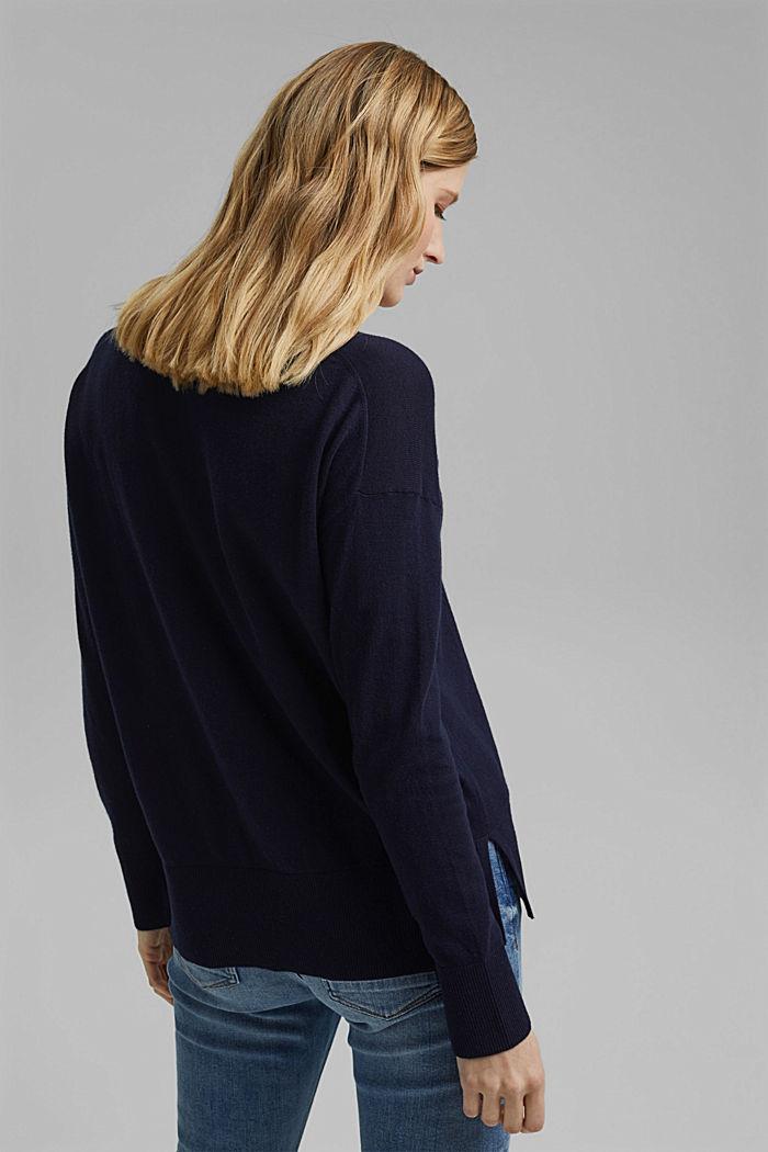 Mit Leinen: Basic Pullover mit Organic Cotton, NAVY, detail image number 3