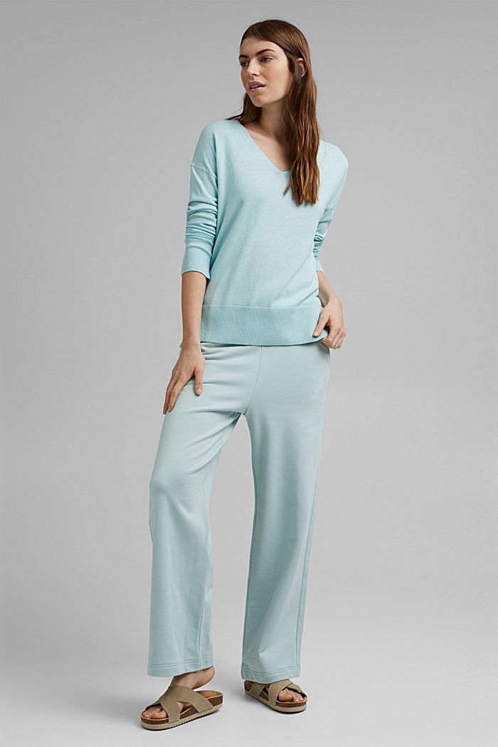Basic jumper with linen and organic cotton, LIGHT TURQUOISE, detail image number 1
