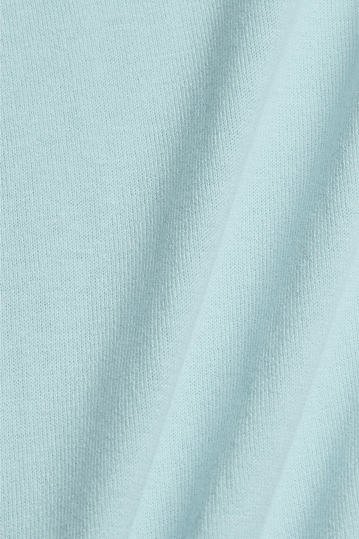 Basic jumper with linen and organic cotton, LIGHT TURQUOISE, detail image number 4
