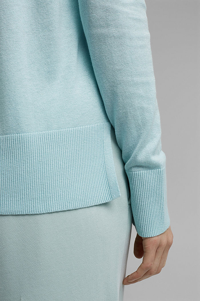 Basic jumper with linen and organic cotton, LIGHT TURQUOISE, detail image number 5