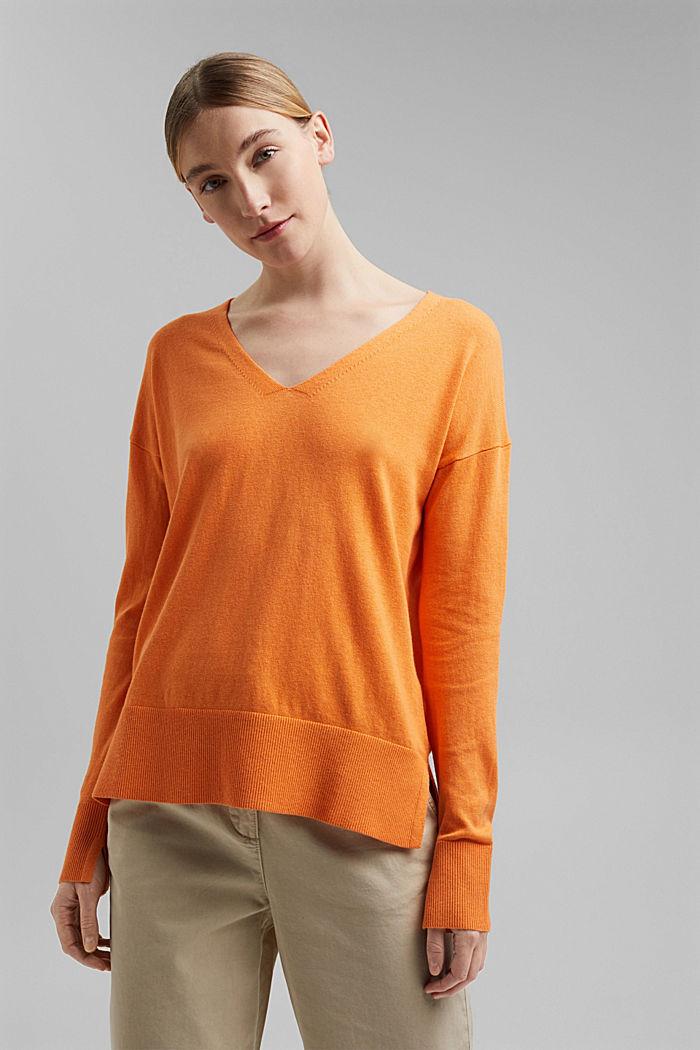 Met linnen: basic trui met biologisch katoen, GOLDEN ORANGE, detail image number 0