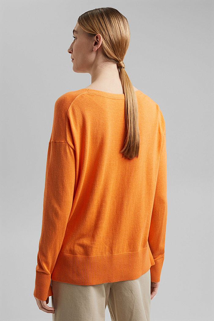 Met linnen: basic trui met biologisch katoen, GOLDEN ORANGE, detail image number 3