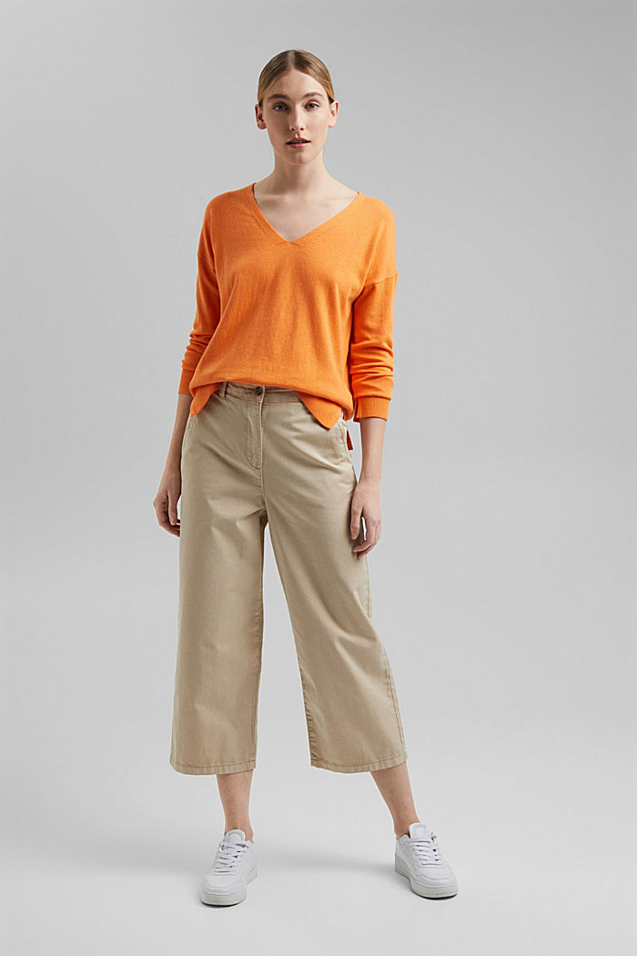Basic jumper with linen and organic cotton, GOLDEN ORANGE, detail image number 6