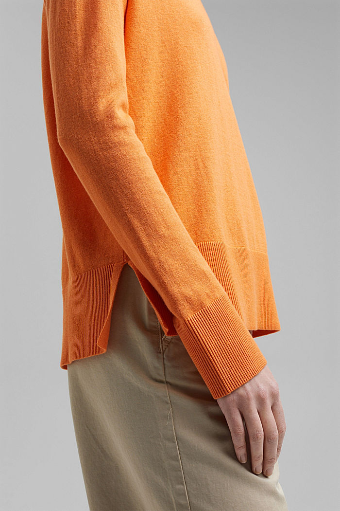 Basic jumper with linen and organic cotton, GOLDEN ORANGE, detail image number 2