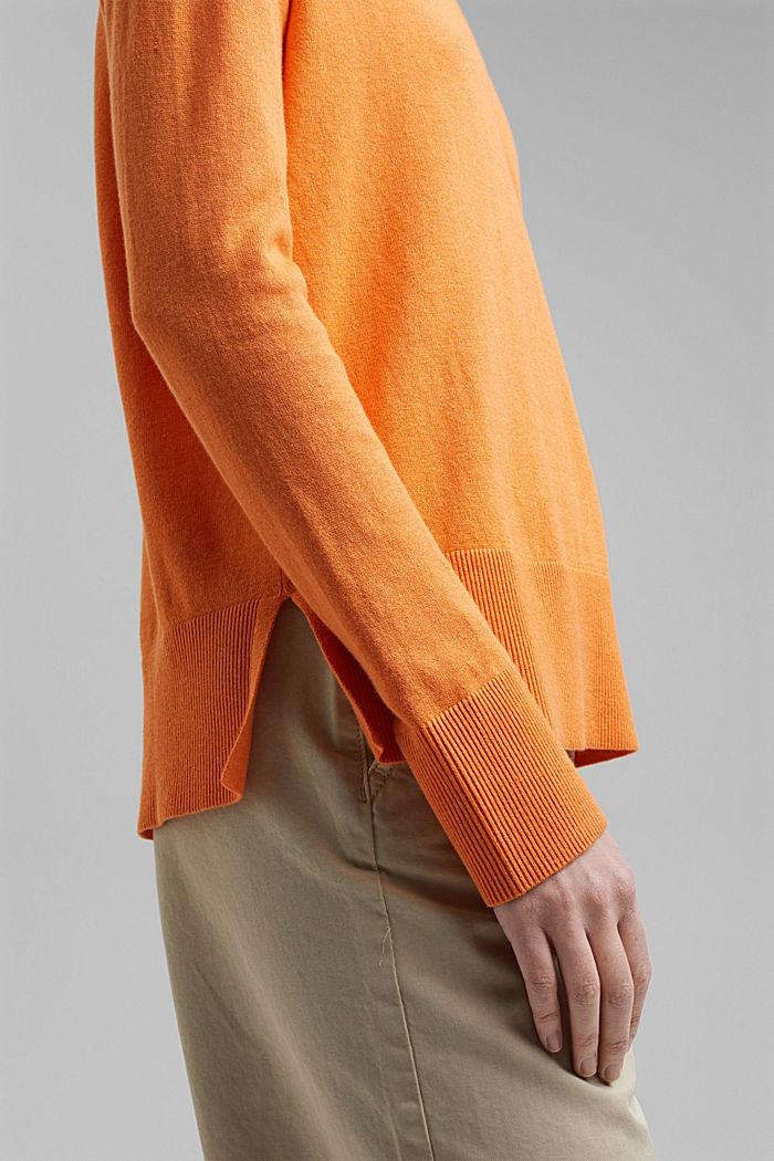 Met linnen: basic trui met biologisch katoen, GOLDEN ORANGE, detail image number 2