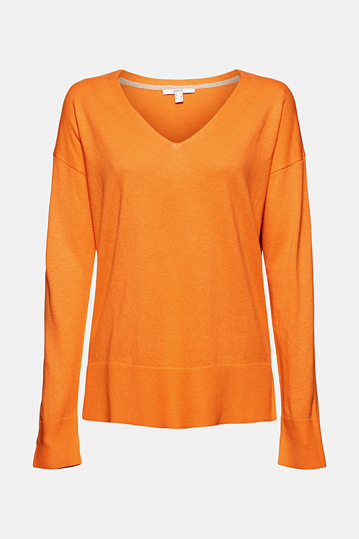 Basic jumper with linen and organic cotton, GOLDEN ORANGE, detail image number 7