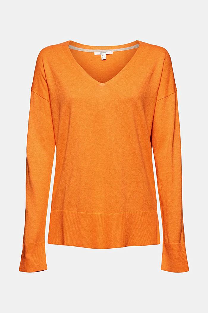 Met linnen: basic trui met biologisch katoen, GOLDEN ORANGE, detail image number 7