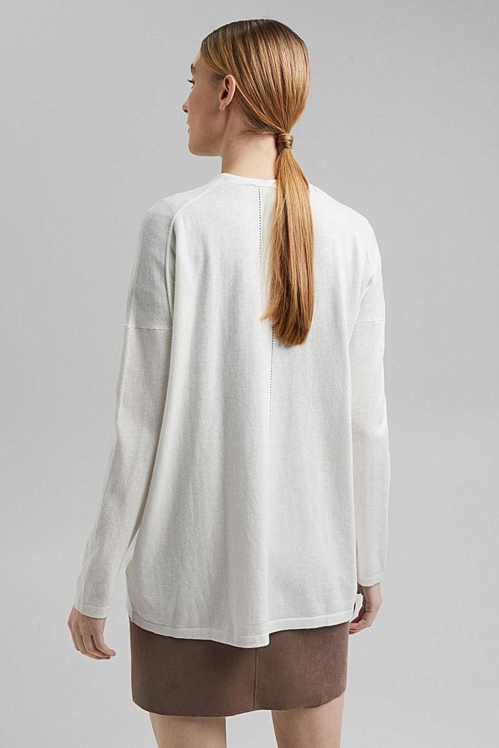 Mit Leinen: Basic Cardigan mit Organic Cotton, OFF WHITE, detail image number 3